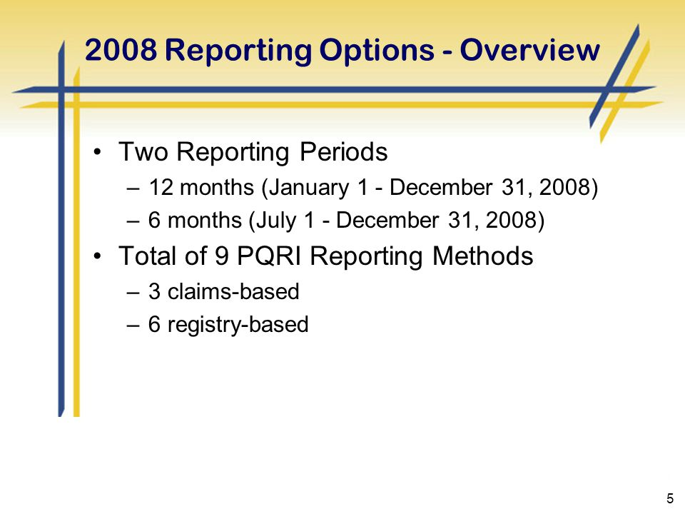5 2008 Reporting Options - Overview Two Reporting Periods –12 months (January 1 - December 31, 2008) –6 months (July 1 - December 31, 2008) Total of 9 PQRI Reporting Methods –3 claims-based –6 registry-based