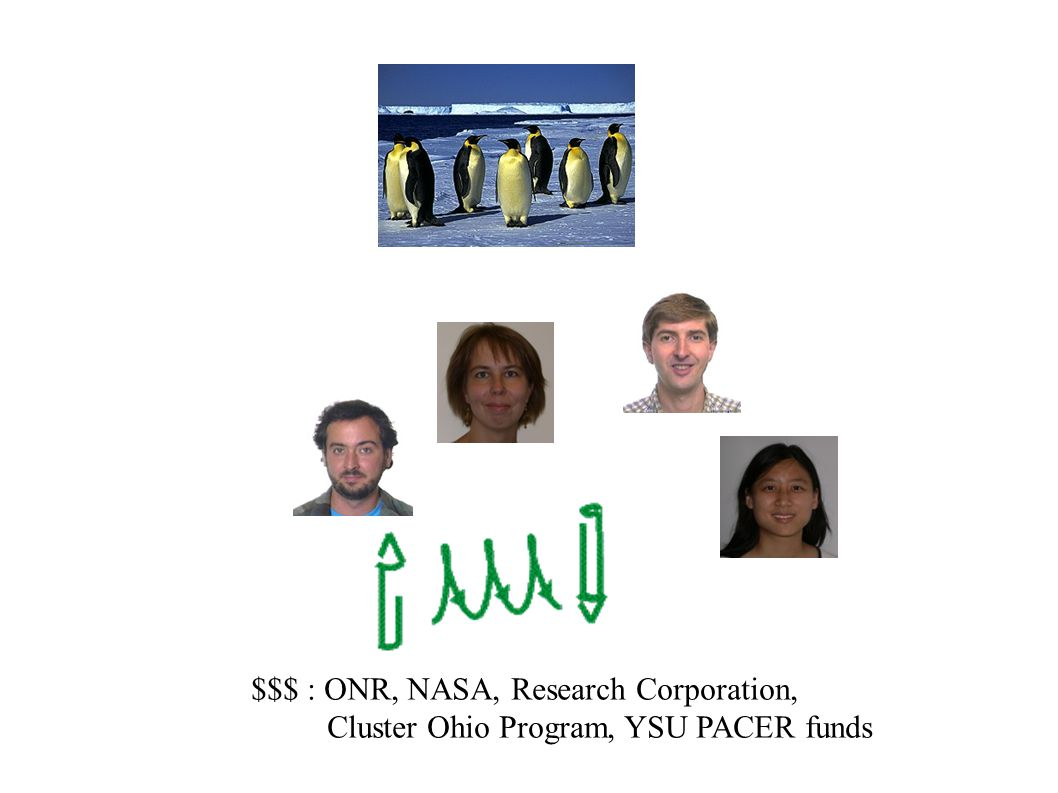 $$$ : ONR, NASA, Research Corporation, Cluster Ohio Program, YSU PACER funds