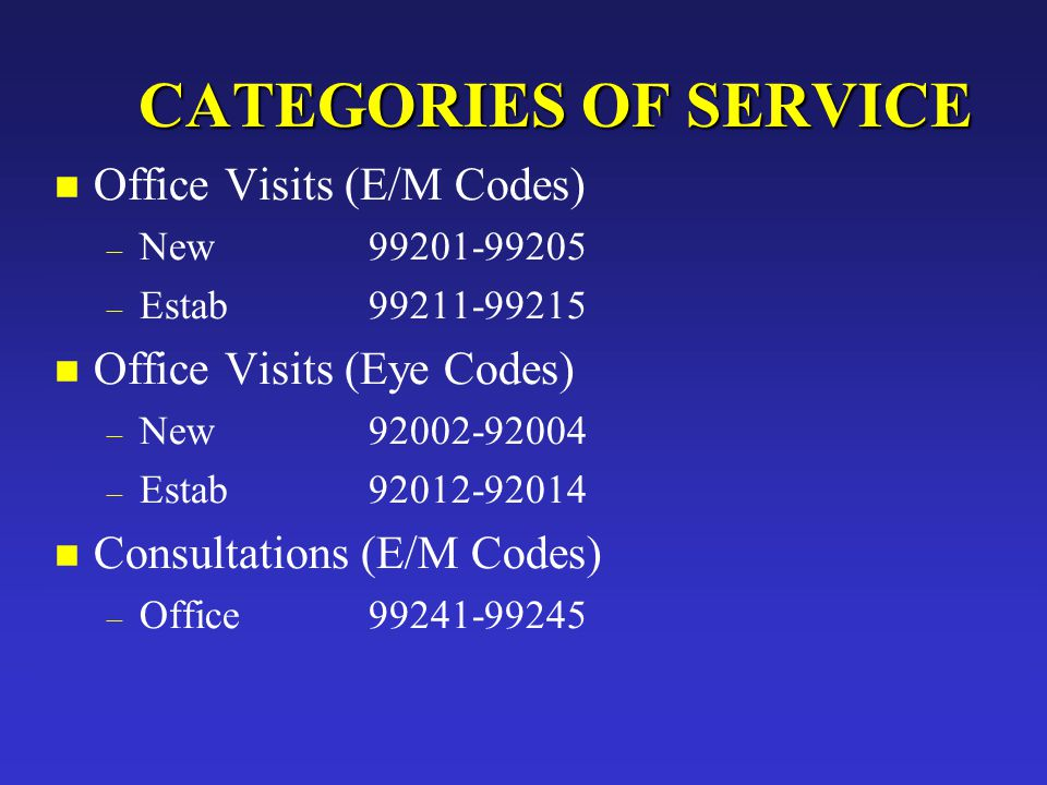 JAM CATEGORIES OF SERVICE CATEGORIES OF SERVICE n Office Visits (E/M Codes) – New99201-99205 – Estab99211-99215 n Office Visits (Eye Codes) – New92002