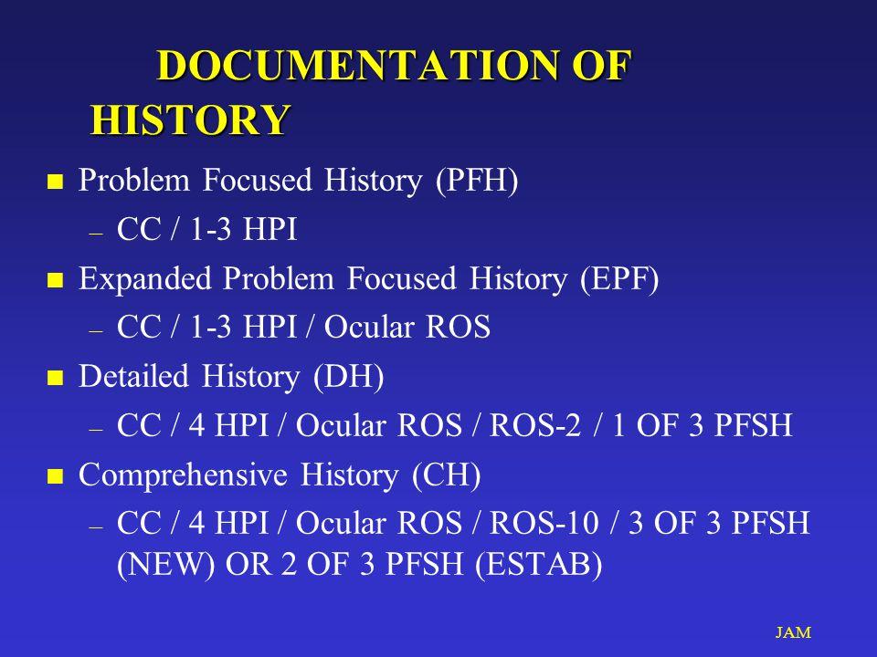 JAM DOCUMENTATION OF HISTORY DOCUMENTATION OF HISTORY n Problem Focused History (PFH) – CC / 1-3 HPI n Expanded Problem Focused History (EPF) – CC / 1-3 HPI / Ocular ROS n Detailed History (DH) – CC / 4 HPI / Ocular ROS / ROS-2 / 1 OF 3 PFSH n Comprehensive History (CH) – CC / 4 HPI / Ocular ROS / ROS-10 / 3 OF 3 PFSH (NEW) OR 2 OF 3 PFSH (ESTAB)