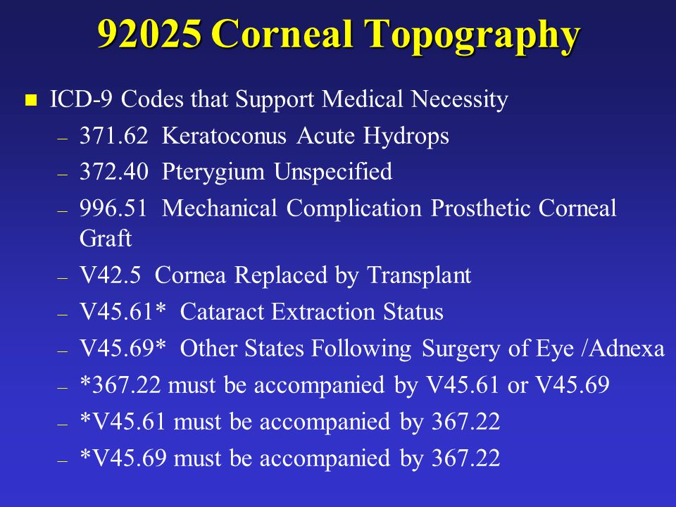 JAM 92025 Corneal Topography n ICD-9 Codes that Support Medical Necessity – 371.62 Keratoconus Acute Hydrops – 372.40 Pterygium Unspecified – 996.51 M