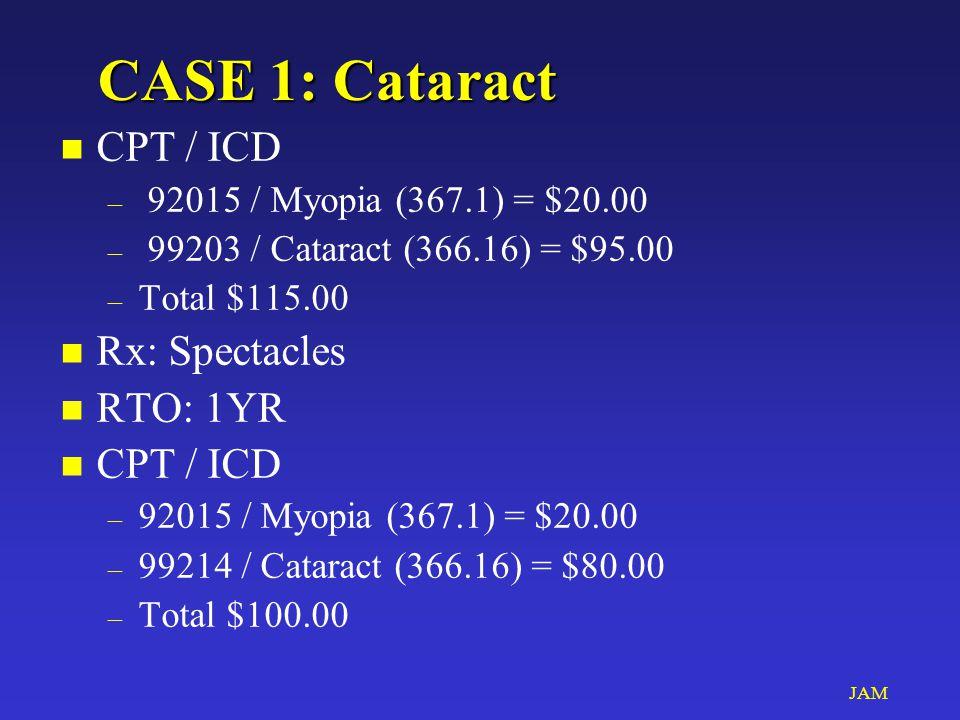 JAM CASE 1: Cataract n CPT / ICD – 92015 / Myopia (367.1) = $20.00 – 99203 / Cataract (366.16) = $95.00 – Total $115.00 n Rx: Spectacles n RTO: 1YR n CPT / ICD – 92015 / Myopia (367.1) = $20.00 – 99214 / Cataract (366.16) = $80.00 – Total $100.00