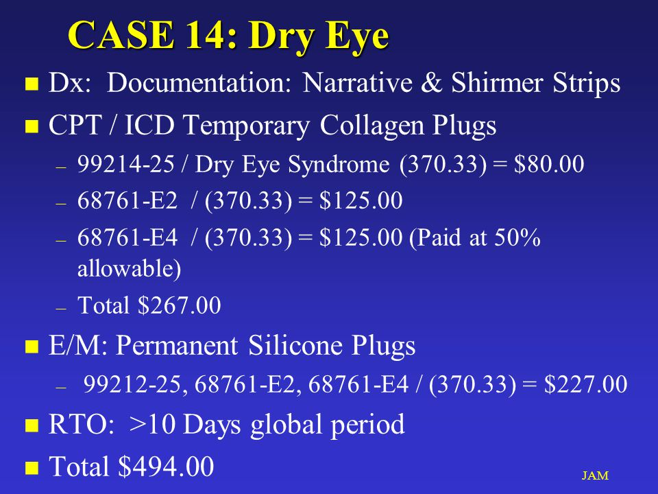 JAM CASE 14: Dry Eye n Dx: Documentation: Narrative & Shirmer Strips n CPT / ICD Temporary Collagen Plugs – 99214-25 / Dry Eye Syndrome (370.33) = $80.00 – 68761-E2 / (370.33) = $125.00 – 68761-E4 / (370.33) = $125.00 (Paid at 50% allowable) – Total $267.00 n E/M: Permanent Silicone Plugs – 99212-25, 68761-E2, 68761-E4 / (370.33) = $227.00 n RTO: >10 Days global period n Total $494.00