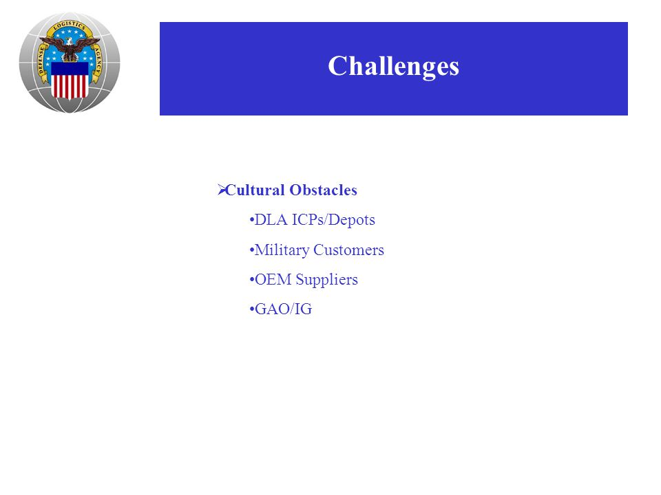 Challenges  Cultural Obstacles DLA ICPs/Depots Military Customers OEM Suppliers GAO/IG