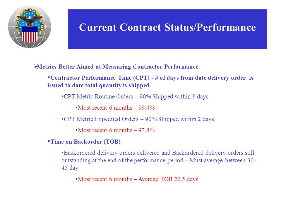 Current Contract Status/Performance  Metrics Better Aimed at Measuring Contractor Performance  Contractor Performance Time (CPT) - # of days from date delivery order is issued to date total quantity is shipped CPT Metric Routine Orders – 90% Shipped within 8 days Most recent 6 months – 99.4% CPT Metric Expedited Orders – 90% Shipped within 2 days Most recent 6 months – 97.8%  Time on Backorder (TOB) Backordered delivery orders delivered and Backordered delivery orders still outstanding at the end of the performance period – Must average between 30- 45 day Most recent 6 months – Average TOB 20.5 days