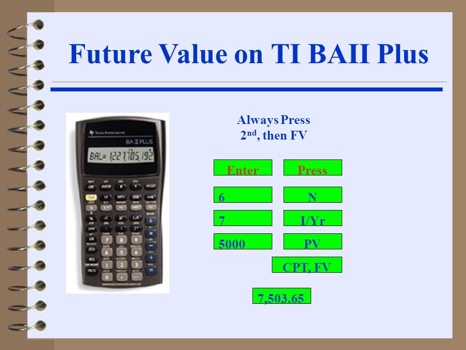 7 5000 I/Yr PV CPT, FV N6 Always Press 2 nd, then FV PressEnter 7,503.65 Future Value on TI BAII Plus