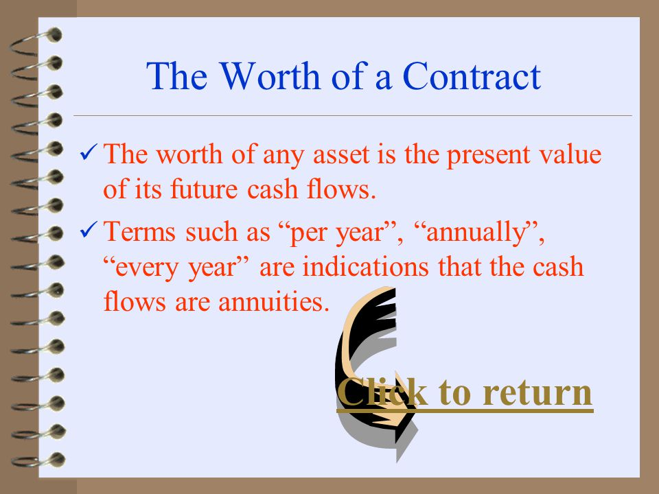 The Worth of a Contract The worth of any asset is the present value of its future cash flows.
