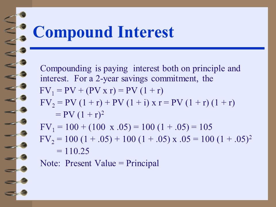 Compound Interest Compounding is paying interest both on principle and interest.