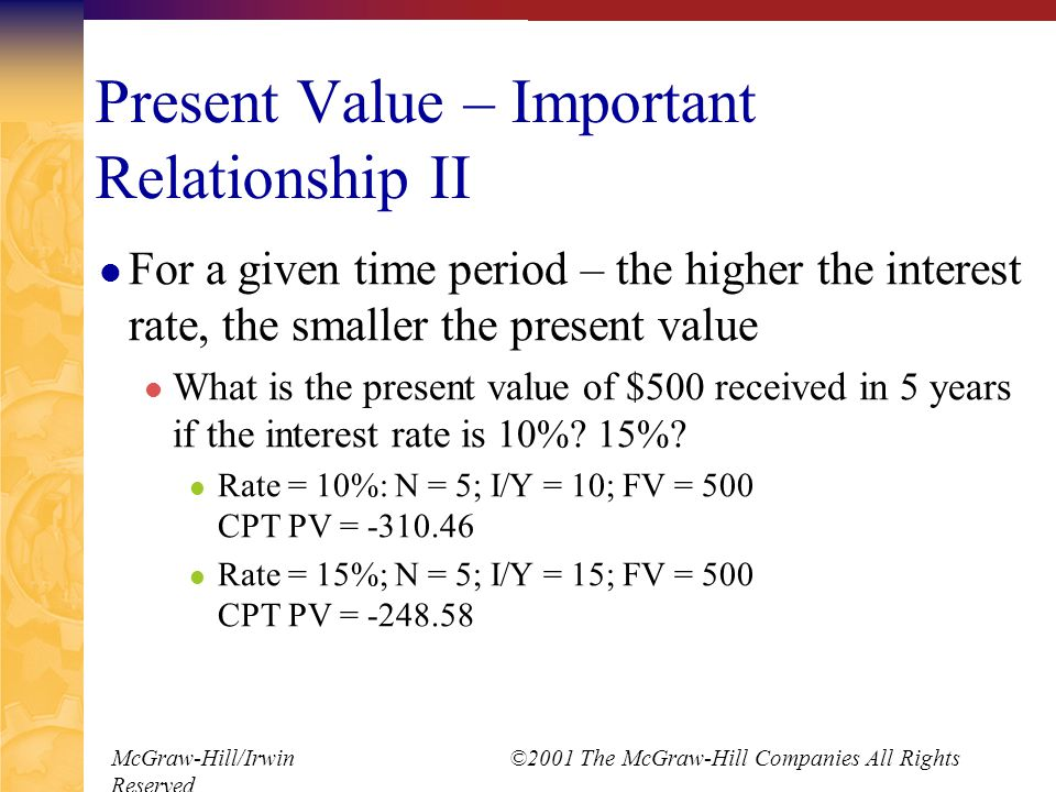 McGraw-Hill/Irwin ©2001 The McGraw-Hill Companies All Rights Reserved Present Value – Important Relationship II For a given time period – the higher the interest rate, the smaller the present value What is the present value of $500 received in 5 years if the interest rate is 10%.