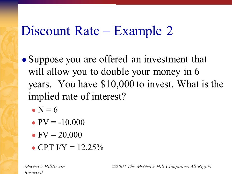 McGraw-Hill/Irwin ©2001 The McGraw-Hill Companies All Rights Reserved Discount Rate – Example 2 Suppose you are offered an investment that will allow you to double your money in 6 years.