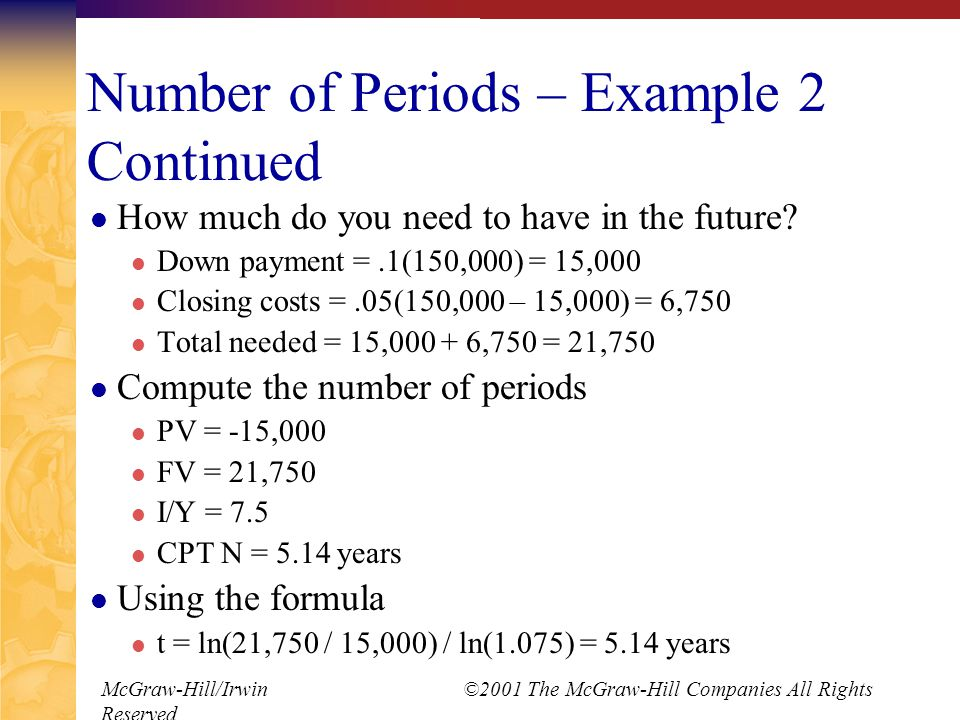 McGraw-Hill/Irwin ©2001 The McGraw-Hill Companies All Rights Reserved Number of Periods – Example 2 Continued How much do you need to have in the future.