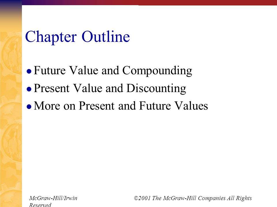 McGraw-Hill/Irwin ©2001 The McGraw-Hill Companies All Rights Reserved Basic Definitions Present Value – earlier money on a time line Future Value – later money on a time line Interest rate – exchange rate between earlier money and later money Discount rate Cost of capital Opportunity cost of capital Required return