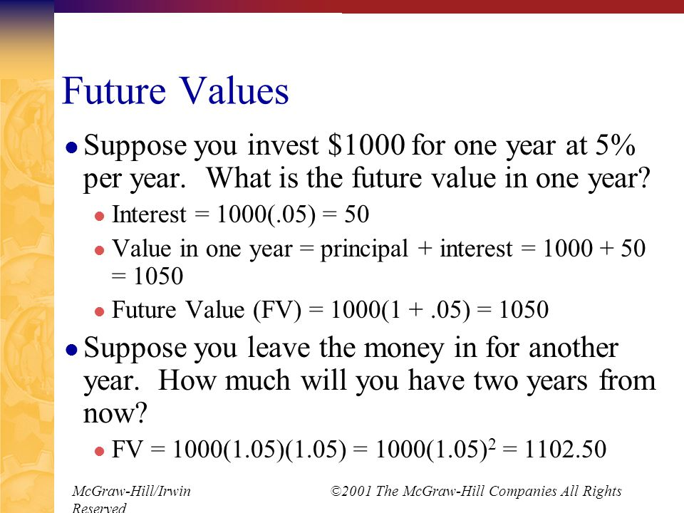 McGraw-Hill/Irwin ©2001 The McGraw-Hill Companies All Rights Reserved Finding the Number of Periods Start with basic equation and solve for t (remember you logs) FV = PV(1 + r) t t = ln(FV / PV) / ln(1 + r) You can use the financial keys on the calculator as well, just remember the sign convention.