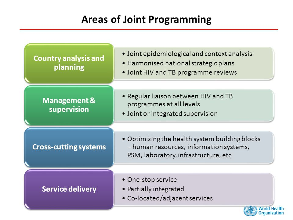 Areas of Joint Programming Joint epidemiological and context analysis Harmonised national strategic plans Joint HIV and TB programme reviews Country analysis and planning Regular liaison between HIV and TB programmes at all levels Joint or integrated supervision Management & supervision Optimizing the health system building blocks – human resources, information systems, PSM, laboratory, infrastructure, etc Cross-cutting systems One-stop service Partially integrated Co-located/adjacent services Service delivery