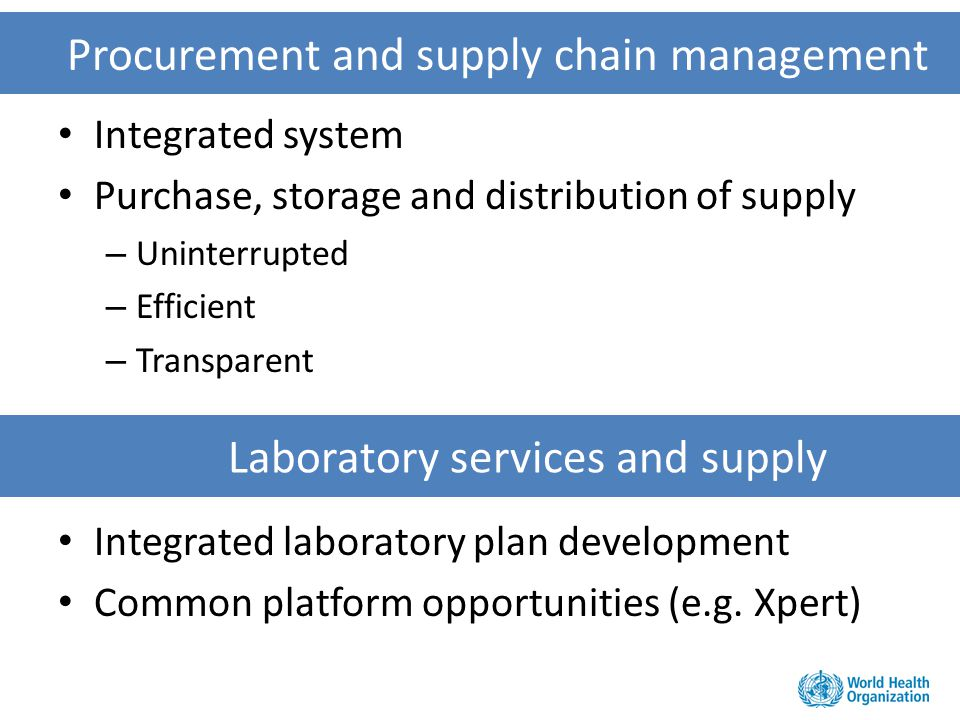 Procurement and supply chain management Integrated system Purchase, storage and distribution of supply – Uninterrupted – Efficient – Transparent Integ