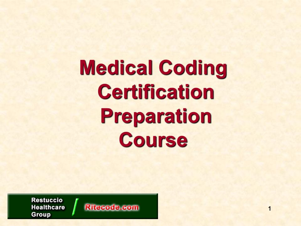 Medical Coding Certification Preparation Course 1