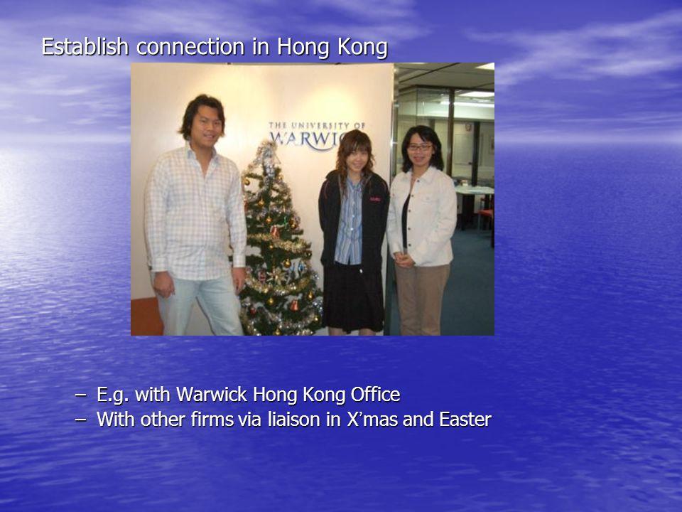 Establish connection in Hong Kong –E.g.