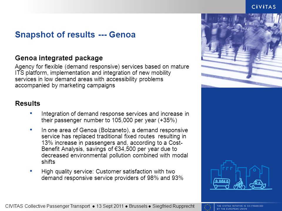 Snapshot of results --- Genoa Genoa integrated package Agency for flexible (demand responsive) services based on mature ITS platform, implementation and integration of new mobility services in low demand areas with accessibility problems accompanied by marketing campaigns Results Integration of demand response services and increase in their passenger number to 105,000 per year (+35%) In one area of Genoa (Bolzaneto), a demand responsive service has replaced traditional fixed routes resulting in 13% increase in passengers and, according to a Cost- Benefit Analysis, savings of €34,500 per year due to decreased environmental pollution combined with modal shifts High quality service: Customer satisfaction with two demand responsive service providers of 98% and 93% CIVITAS Collective Passenger Transport 13 Sept 2011 Brussels Siegfried Rupprecht