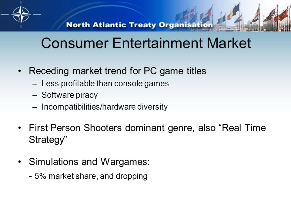 Consumer Entertainment Market Receding market trend for PC game titles –Less profitable than console games –Software piracy –Incompatibilities/hardwar