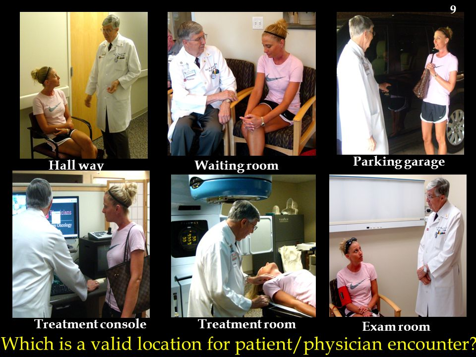 Which is a valid location for patient/physician encounter? Exam room Waiting room Parking garage Treatment consoleTreatment room Hall way 9