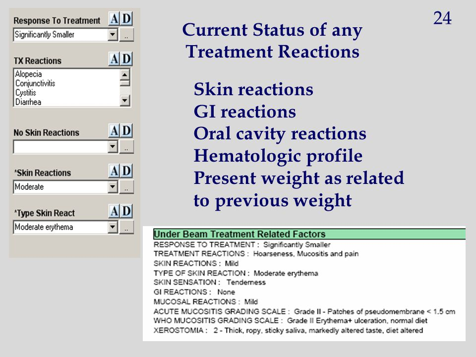 Current Status of any Treatment Reactions Skin reactions GI reactions Oral cavity reactions Hematologic profile Present weight as related to previous