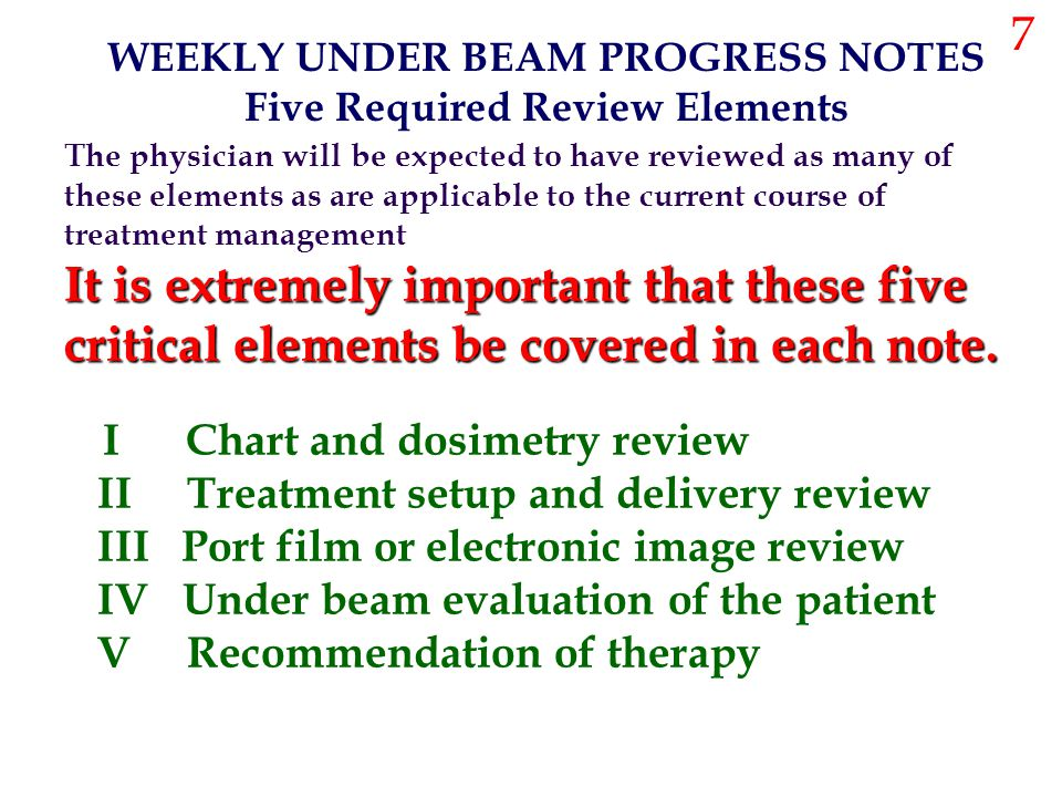 The physician will be expected to have reviewed as many of these elements as are applicable to the current course of treatment management It is extrem