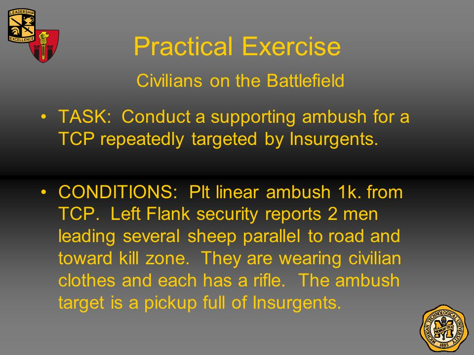 Practical Exercise Civilians on the Battlefield TASK: Conduct a supporting ambush for a TCP repeatedly targeted by Insurgents.