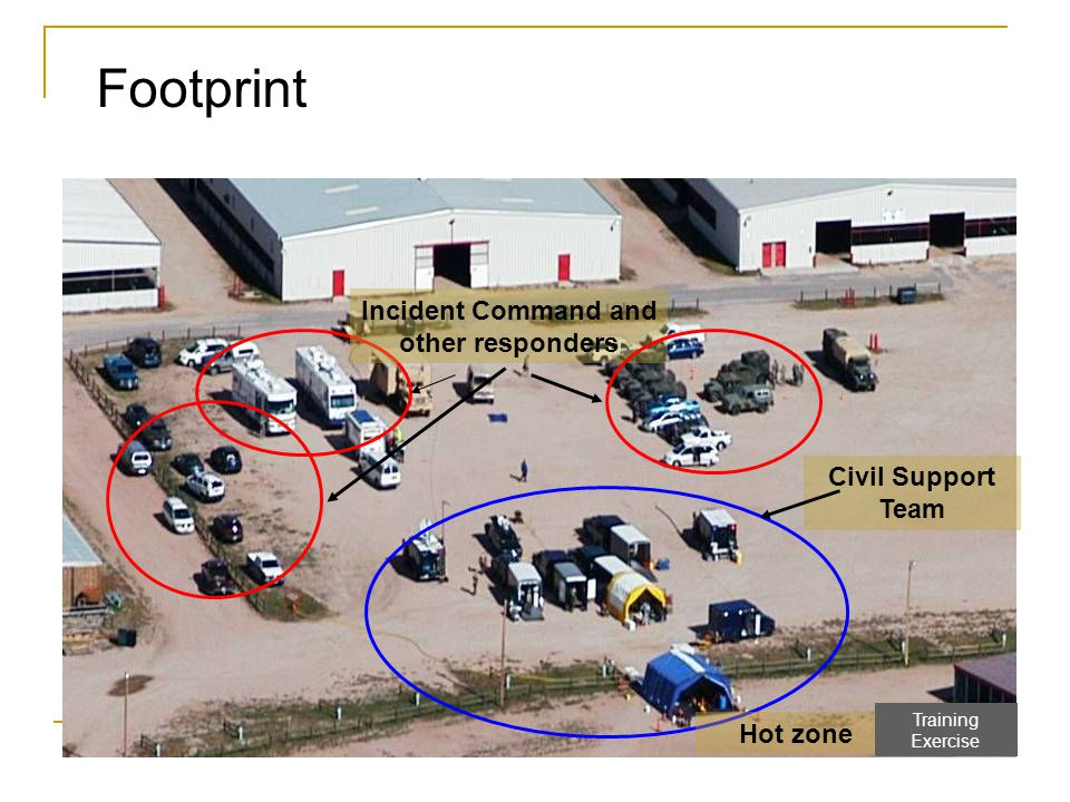Footprint Civil Support Team Incident Command and other responders Hot zone Training Exercise