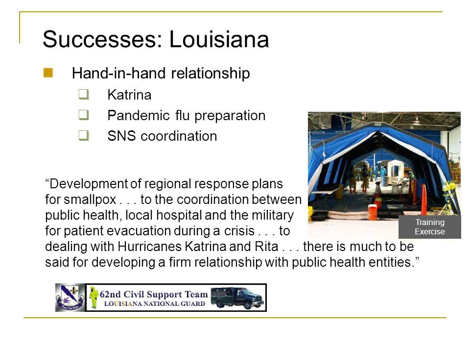 "Hand-in-hand relationship  Katrina  Pandemic flu preparation  SNS coordination Successes: Louisiana ""Development of regional response plans for sma"