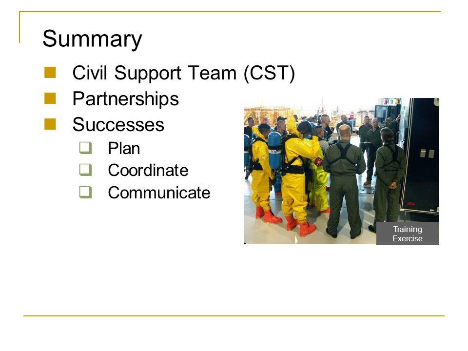 Summary Civil Support Team (CST) Partnerships Successes  Plan  Coordinate  Communicate Training Exercise