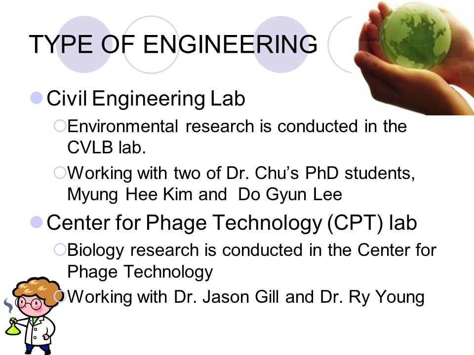 TYPE OF ENGINEERING Civil Engineering Lab  Environmental research is conducted in the CVLB lab.