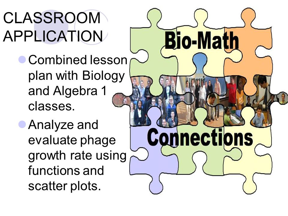 CLASSROOM APPLICATION Combined lesson plan with Biology and Algebra 1 classes.