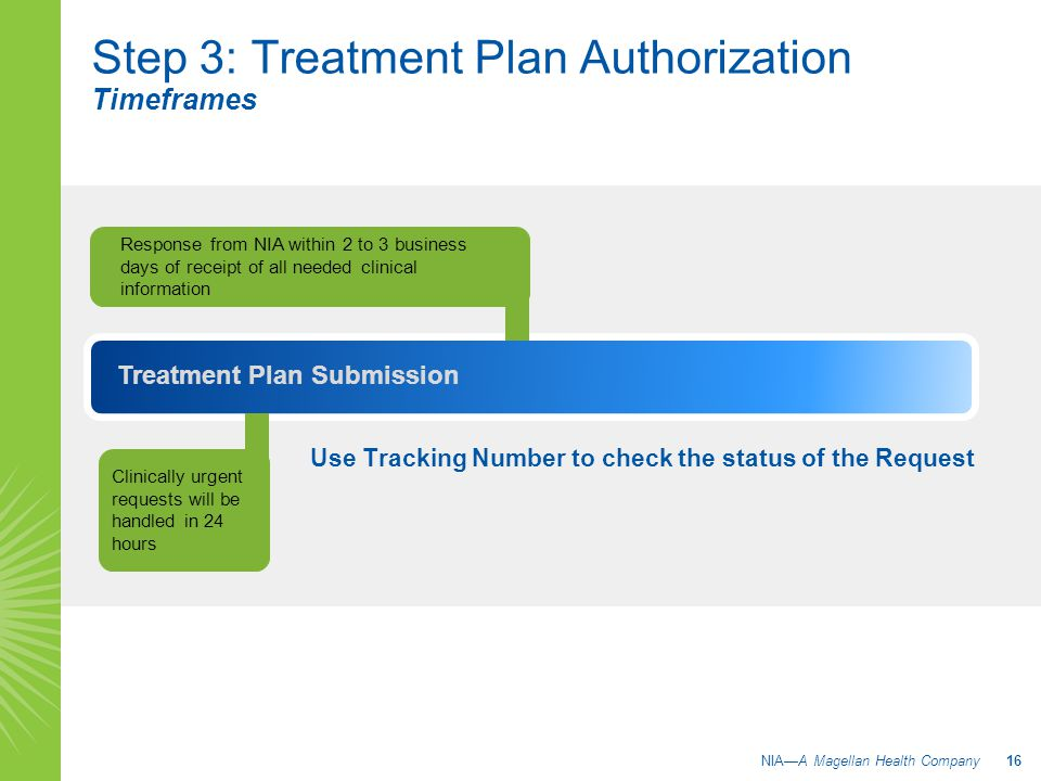 Step 3: Treatment Plan Authorization Timeframes Use Tracking Number to check the status of the Request Response from NIA within 2 to 3 business days of receipt of all needed clinical information Treatment Plan Submission Clinically urgent requests will be handled in 24 hours NIA—A Magellan Health Company 16