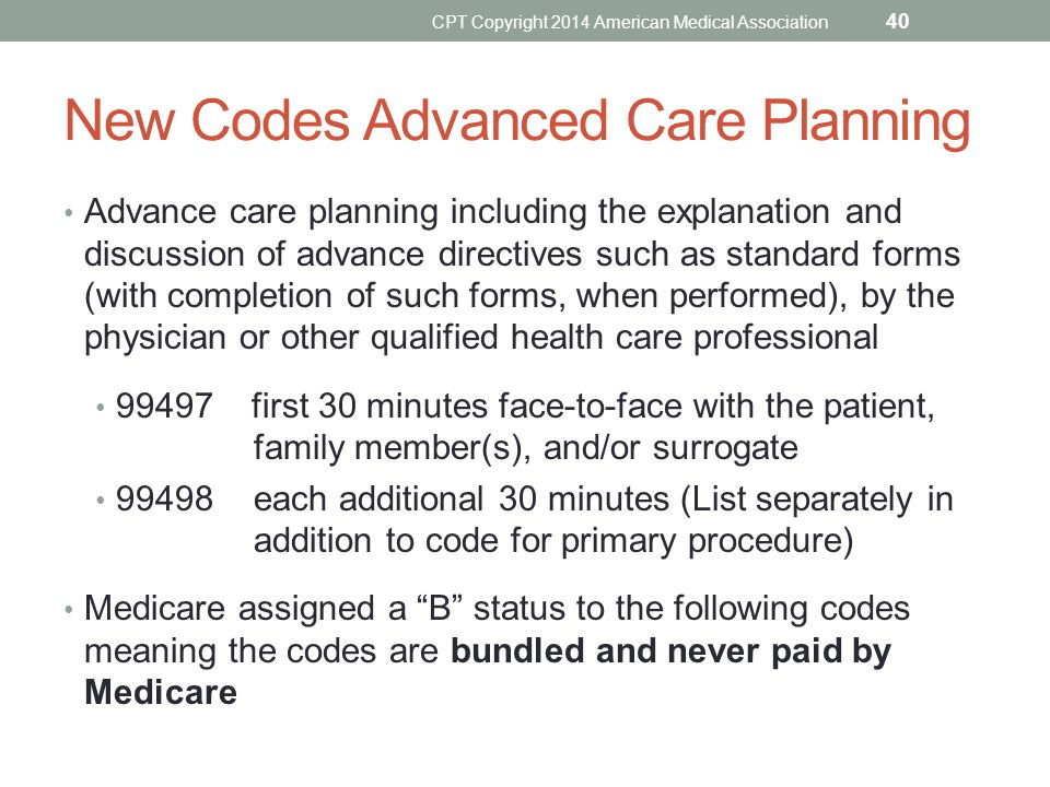 New Codes Advanced Care Planning Advance care planning including the explanation and discussion of advance directives such as standard forms (with com