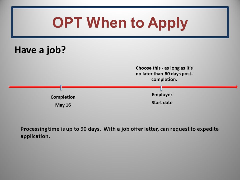 OPT When to Apply Have a job. Processing time is up to 90 days.