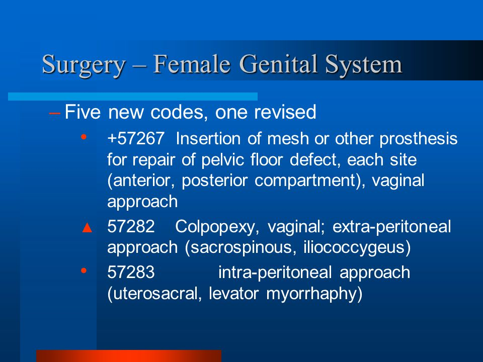 Surgery – Female Genital System –Five new codes, one revised +57267 Insertion of mesh or other prosthesis for repair of pelvic floor defect, each site