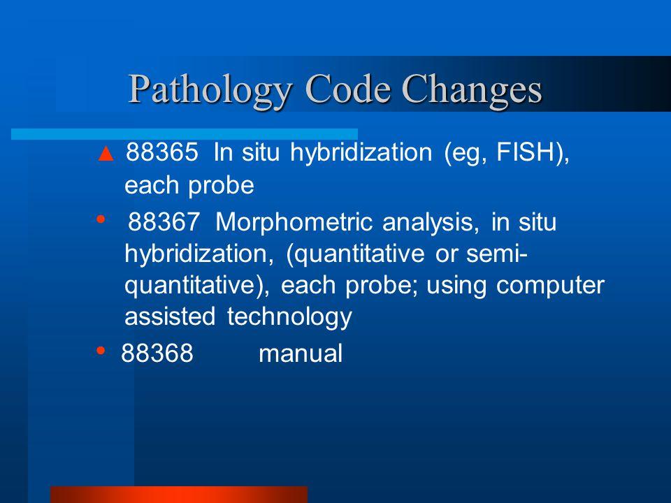 Pathology Code Changes ▲ 88365 In situ hybridization (eg, FISH), each probe 88367 Morphometric analysis, in situ hybridization, (quantitative or semi-