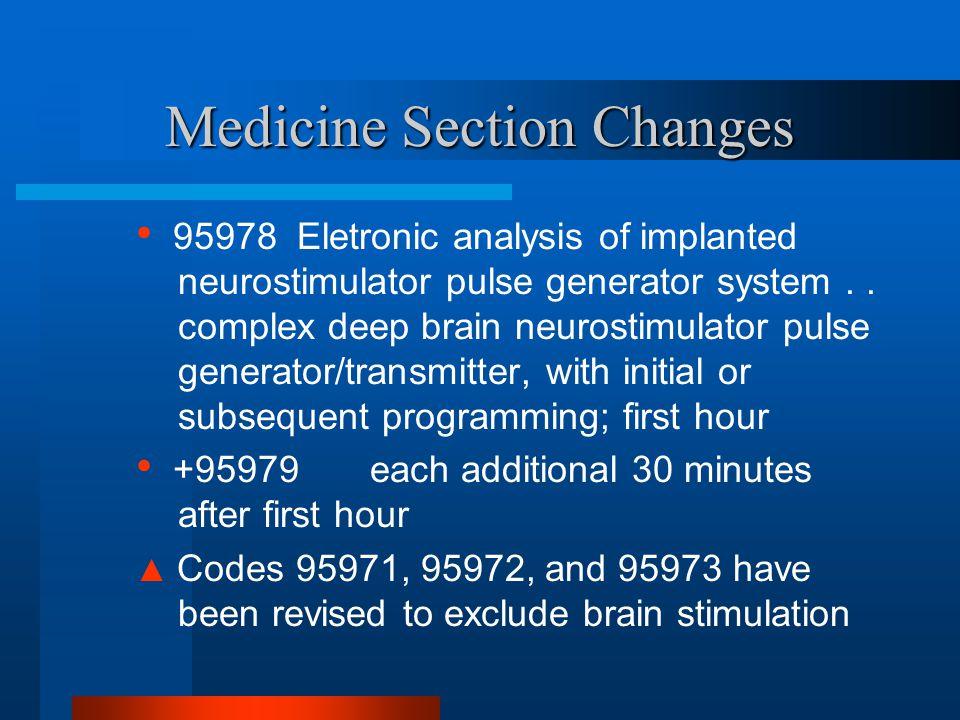 Medicine Section Changes 95978 Eletronic analysis of implanted neurostimulator pulse generator system.. complex deep brain neurostimulator pulse gener