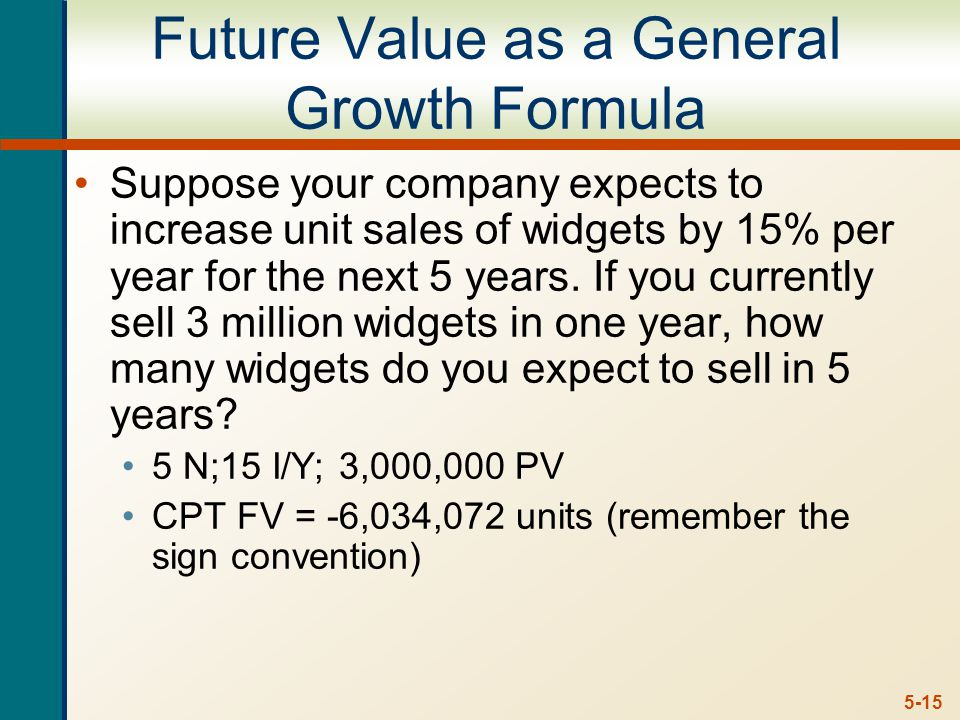 5-15 Future Value as a General Growth Formula Suppose your company expects to increase unit sales of widgets by 15% per year for the next 5 years.