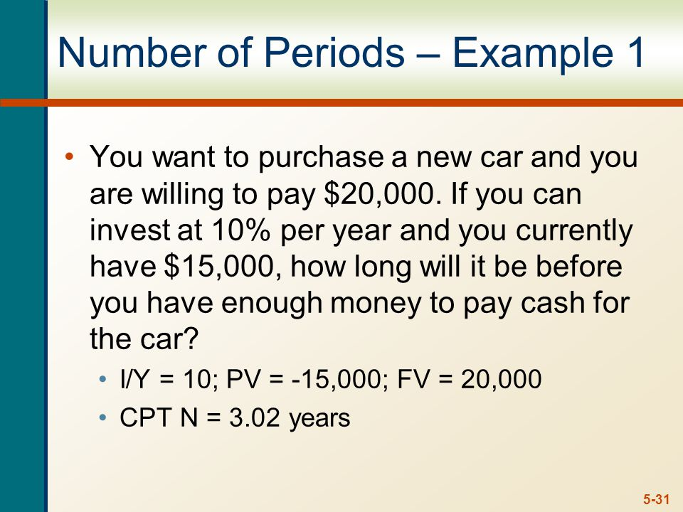 5-31 Number of Periods – Example 1 You want to purchase a new car and you are willing to pay $20,000.