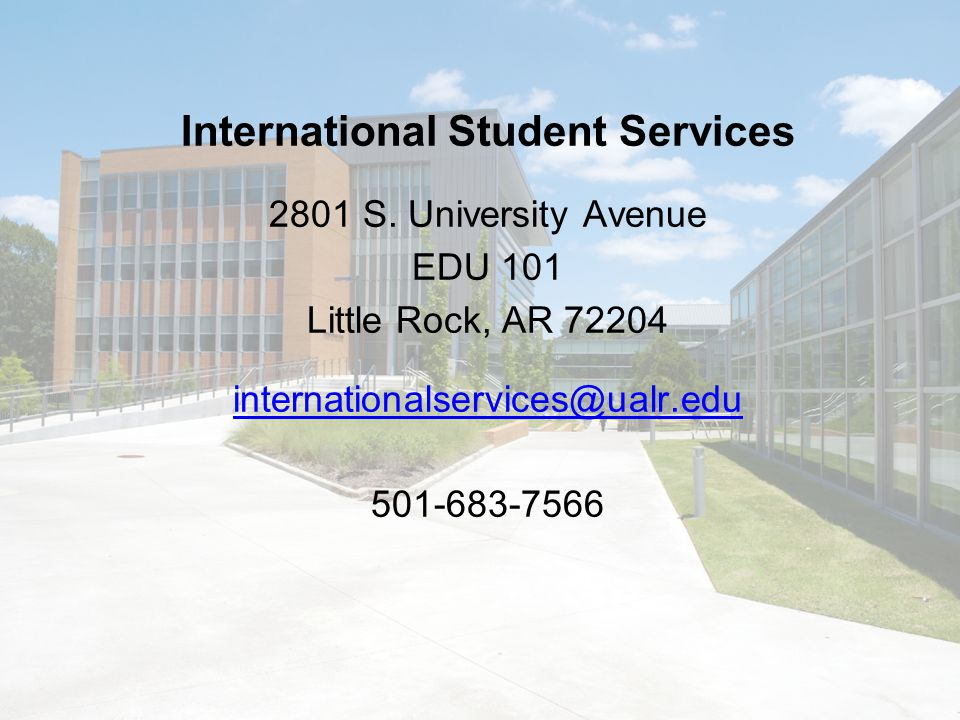 International Student Services 2801 S.