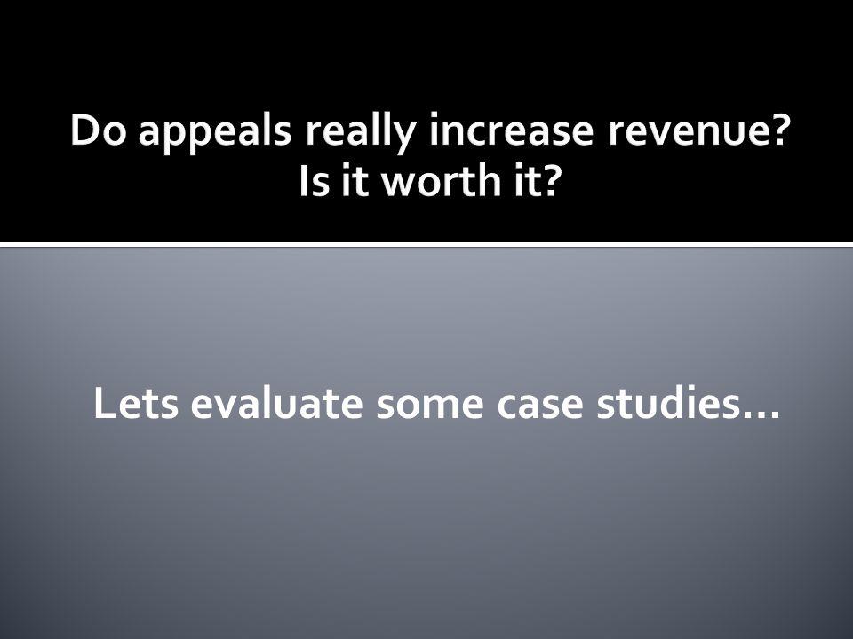 Lets evaluate some case studies…