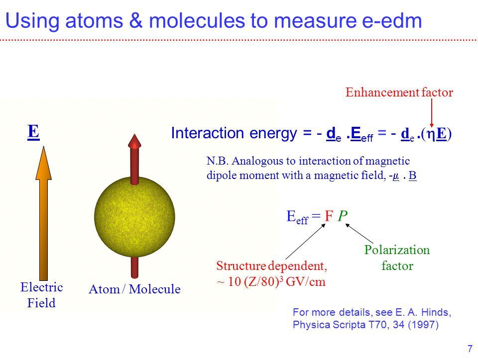 7 Using atoms & molecules to measure e-edm Atom / Molecule Electric Field E Interaction energy = - d e.E eff = - d e.(  E) N.B.