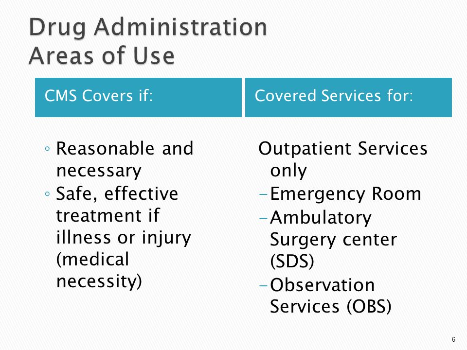 CMS Covers if:Covered Services for: ◦ Reasonable and necessary ◦ Safe, effective treatment if illness or injury (medical necessity) Outpatient Service