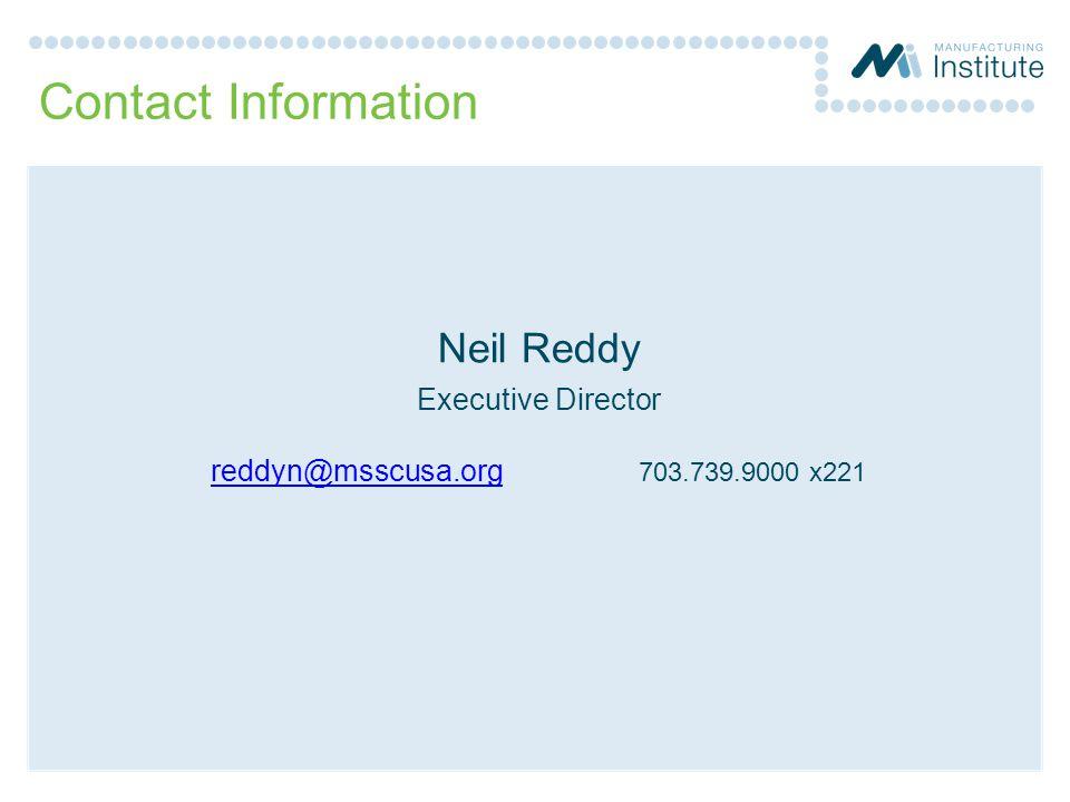 Contact Information Neil Reddy Executive Director reddyn@msscusa.orgreddyn@msscusa.org 703.739.9000 x221