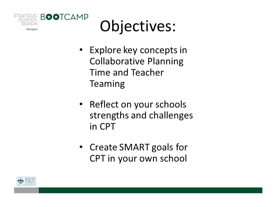 Objectives: Explore key concepts in Collaborative Planning Time and Teacher Teaming Reflect on your schools strengths and challenges in CPT Create SMA