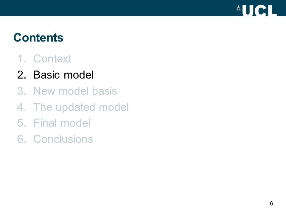 Contents 1.Context 2.Basic model 3.New model basis 4.The updated model 5.Final model 6.Conclusions 6