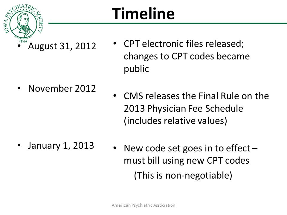 Timeline August 31, 2012 November 2012 January 1, 2013 CPT electronic files released; changes to CPT codes became public CMS releases the Final Rule o