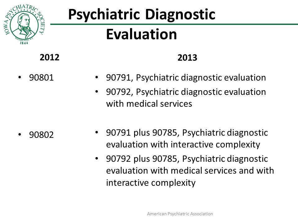 Psychiatric Diagnostic Evaluation 2012 90801 90802 2013 90791, Psychiatric diagnostic evaluation 90792, Psychiatric diagnostic evaluation with medical