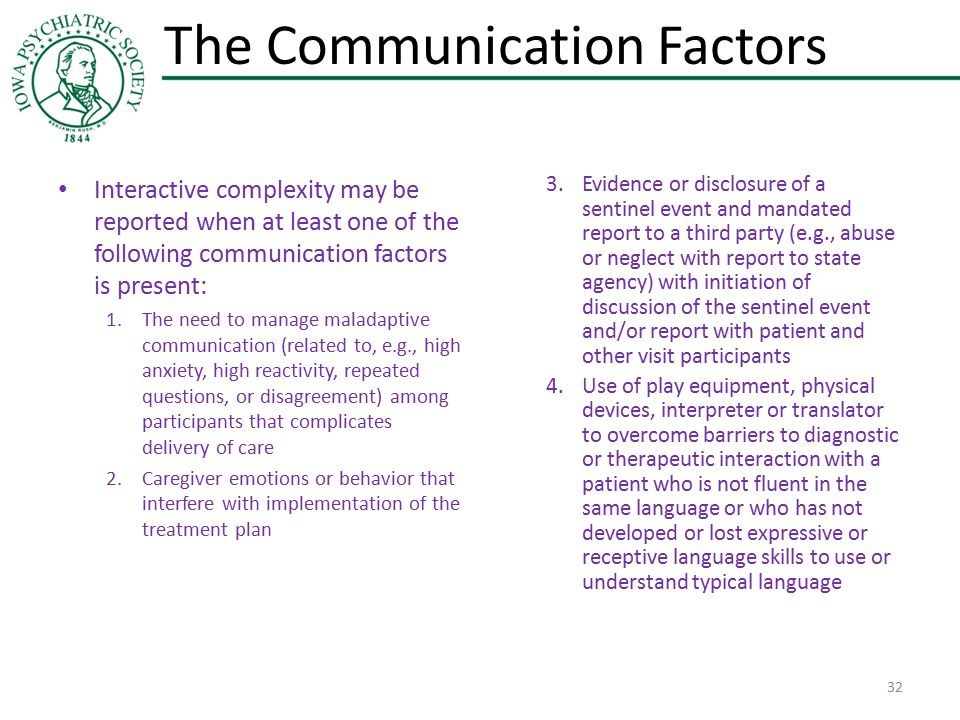 The Communication Factors Interactive complexity may be reported when at least one of the following communication factors is present: 1.The need to ma
